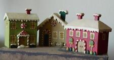 Blossom Bucket Gingerbread House Village 3 Cottages Primitive Folksy Decor 83946