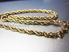 "14K Solid 2.5mm Rope 8""inch Chain 3.8 grams"