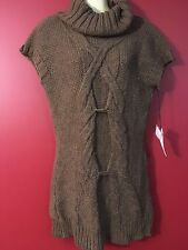 V.A. STUDIO Women's Italian Coco Brown Heavy Knit Long Sweater -Size Medium -NWT
