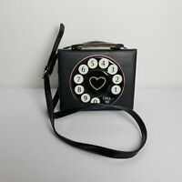 "Cute Black Rotary Phone Face ""Call Me"" Hard-Shell Rectangle Purse Shoulder Bag."