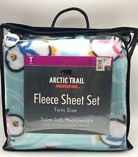 Twin Fleece Sheet Set Soft Penguin Arctic Trail New
