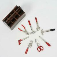1:12 Dollhouse Miniature Tools Box w/ 8 Tools Spanner Hammer Screwdr Pliers M9S7