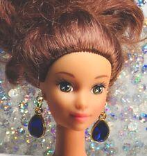 """Deep Blue Teardrop Rhinestone Earrings For Miss Revlon & Other 18-22"""" Dolls #17"""