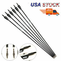 """30"""" Carbon Arrows 6PCS Spine 500 Screw Tips Archery Recurve Compound Bow Hunting"""