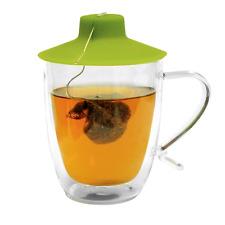 Primula Double Wall Glass Mug and Tea Bag Buddy - Temperature Safe 16 oz. Clear