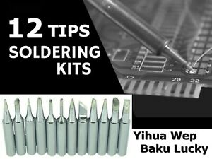 KIT 12 PUNTE SALDATORE HQ - SOLDERING TIPS 10PCS. ALL DIFFERENT HIGH QUALITY