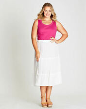 Autograph White party Cote d'azure gypsy boho beach crinkle skirt size 18 LINED