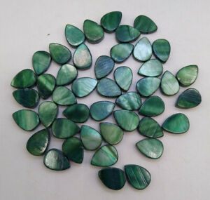60pc Mother of Pearl MOP Beads; Dark Green 13mm Flat Teardrop; Top Drilled