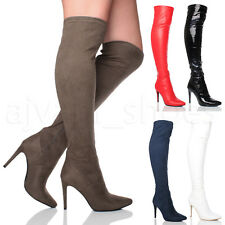 High (3-4.5 in.) Slim Heel Synthetic Boots for Women