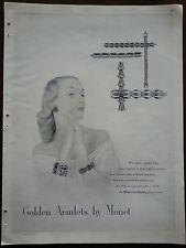 1947 Golden Armlets Bracelets by MONET JEWELRY Original Ad