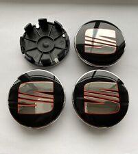 4 X BLACK ALLOY WHEEL CENTRE CAPS Fit SEAT IBIZA LEON ALTEA ALHAMBRA TOLEDO 62mm