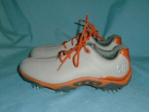 NEW WOB FootJoy Junior Boys Golf Shoes 45069 Spiked Grey Orange 3M