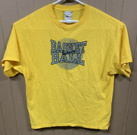 Vintage Nike Basketball T-shirt; Mens XL; Swoosh Logo; Spelled Out; Yellow
