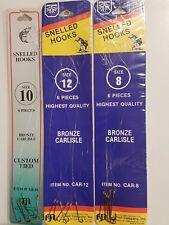 18 Assorted Bronzed Carlisle Snelled Hooks