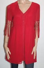 TPAL Designer Red Chiffon Fringe Short Sleeve Day Dress Size M BNWT #SX112