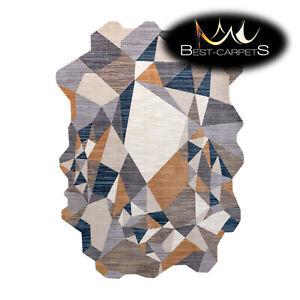 "Modern Designer Rug ""TINE"" irregular shape GREY / YELLOW mosaic High Quality"