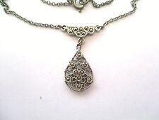 Costume Jewellery -  Unusual Vintage Czech Pendant Necklace - Marcarsite Style.