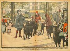 CHEVRES DANS PARIS / GOATS IN PARIS / ILLUSTRATION DE DAMBLANS 1928