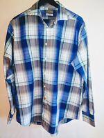 Thomas Dean Mens Size XL Long Sleeve Collared Button Up Blue Grey Plaid Shirt
