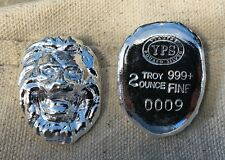 "2oz YPS ""Lion"" 999+ fine silver bullion bar ""Yeager's Poured Silver"""