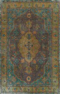 Semi-Antique Floral Tebriz Traditional Oriental Area Rug Overdyed Handmade 6x10