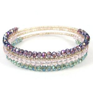 4 Layers Multi Color Czech Glass Crystal Beads Handmade Bracelet