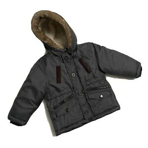 CARTER'S Toddler 24 Months Grey Puffer Jacket Faux Fur Hooded Gently Used EUC