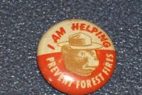 """Smokey the Bear """"I Am Helping Prevent Forest Fires"""" Pinback Button 1940's Nice"""