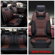 Universal Car Seat Cover 5-Seats Front+Rear Microfiber Leather Cushion w/Pillows