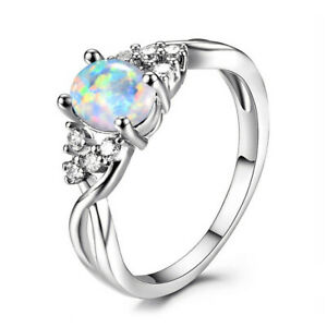 Women'S Silver Oval Cut White simulated Opal Ring Wedding Jewelry Size 7#