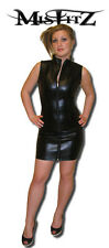 Misfitz black leather look barbarella dress 2 way zip size 18 punk rock biker