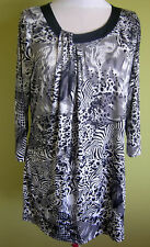 Ladies Womens 3/4 Sleeve Animal Print Tunic Top Blouse Millers Size 16