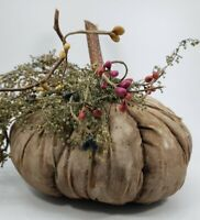 Primitive Distressed Fabric Pumpkin with Accents