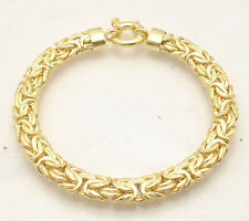 "7.5"" All Shiny Byzantine Chain Bracelet Senora Lock 14K Yellow Gold Clad Silver"