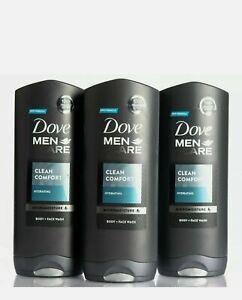 3x Dove Men+ Care Clean Comfort, 400 ml, Shower Gel for Men, Body Wash, Shampoo