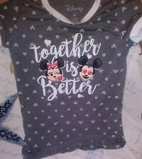 Disney Mickey&Minnie Mouse Together Is Better Girls Top  Sz M