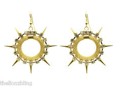 Punk Hip Hop Earrings Gold Hoops with Metal Spikes & Crystal Bling