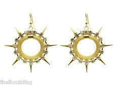 Punk Hip Hop Earrings Gold Hoops with Metal Spikes & Crystal Bling