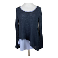 Micheal Tyler Tunic Top XL Layered Black Gray Open Knit Long Sleeve Scoop Womens