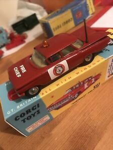 Corgi Toys 439 Fire Chief Chevrolet Restored In Repro Box