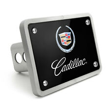 Cadillac Logo UV Graphic Black Billet Aluminum 2 inch Tow Hitch Cover for SUV