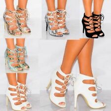 Animal Print Lace-up Heels for Women