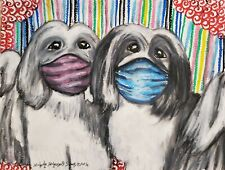 Havanese in Quarantine Art Print 4x6 Dog Collectible Signed Artist Ksams