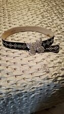 BB Simon Bling Belt Size L, black cowhide with swarovski  and Butterfly buckle