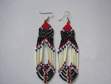 "Porcupine quill Earrings New handmade  red white and blue looped  3 1/2"" x1"""