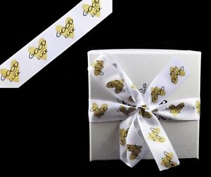 """Satin White Ribbon 25mm Printed """"Good Luck"""" 3Y Sewing Labels Gift Wrapping"""