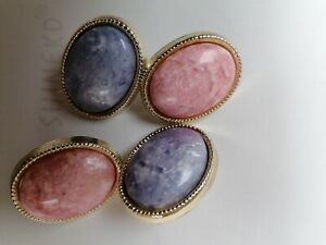 2 pairs  Large pink/blue Round Earrings Costume Jewellery vintage