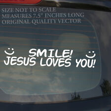 """SMILE! Jesus Loves You Christian Christ Religion Funny Cute Decal Sticker 7.5"""""""