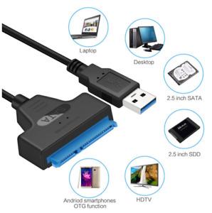 """USB 3.0 vers Sata III 2.5"""" Câble Adaptateur Lecteur pour disque dur SSD externe"""