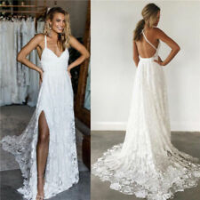 Sexy Boho Wedding Dresses Spaghetti Strap Bridal Gown Split Beach Backless Lace